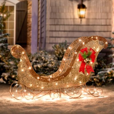 Glittering Sleigh Christmas Decor