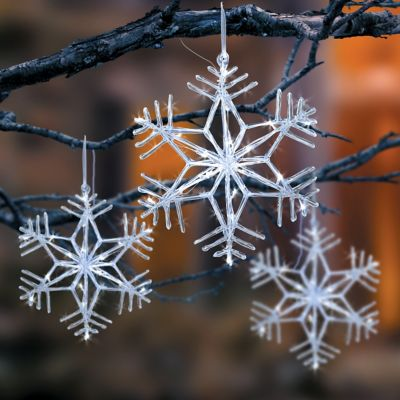 Pre-Lit Acrylic Snowflake Christmas Decoration-14""