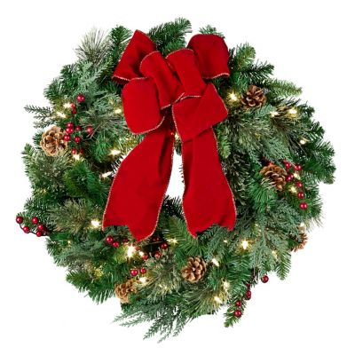 Pre-Lit Classic Lighted Christmas Wreath-24""