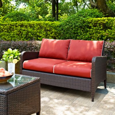 Kiawah Resin Wicker Patio Loveseat with Cushion
