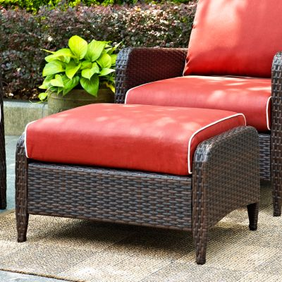 Kiawah Resin Wicker Patio Ottoman with Cushion