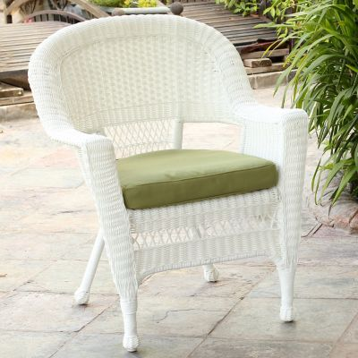 Hampton Hill Resin Wicker Arm Chair-White