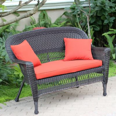 Hampton Hill Resin Wicker Loveseat with Cushion-Espresso