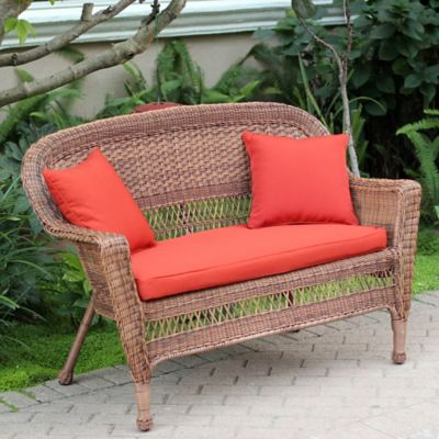 Hampton Hill Resin Wicker Loveseat with Cushion-Honey