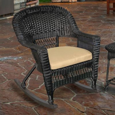 Hampton Hill Resin Wicker Rocker-Black