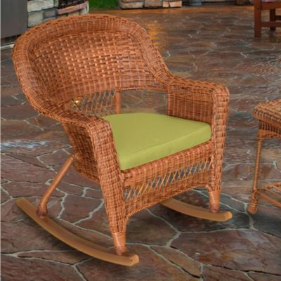 Hampton Hill Resin Wicker Rocker-Honey