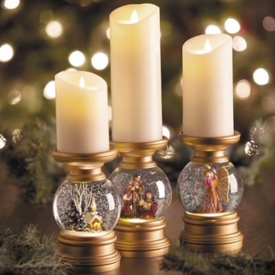 Lighted Religious Snow Globe Christmas Candle Holder