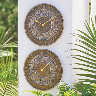 Ivy Silhouette Outdoor Clock & Thermometer