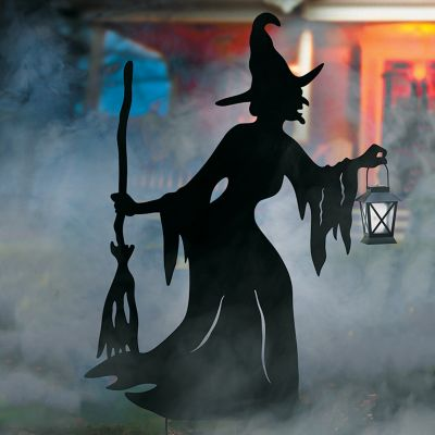 Halloween Witch Silhouette with Solar Lantern