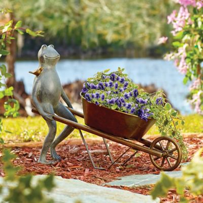 Frog with Wheelbarrow Planter