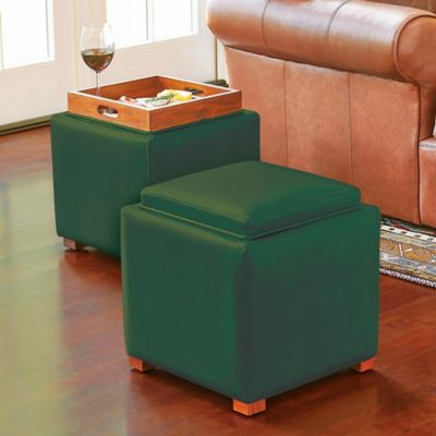 Faux Leather Storage Ottoman with Tray