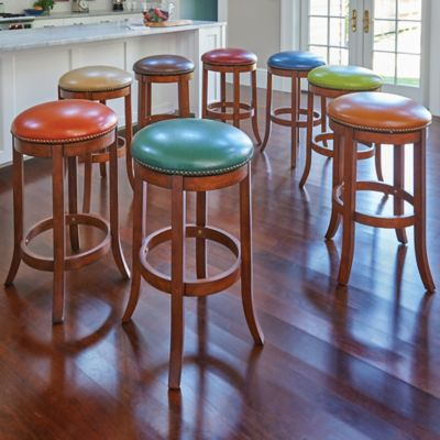 Barcelona Faux Leather Swivel Bar Stools with Nailhead