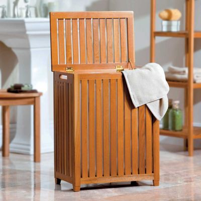 Teak Clothes Hamper with Liner