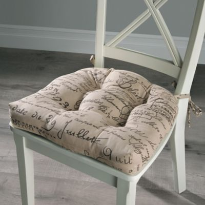 French Script Insulated Tufted Chair Pad
