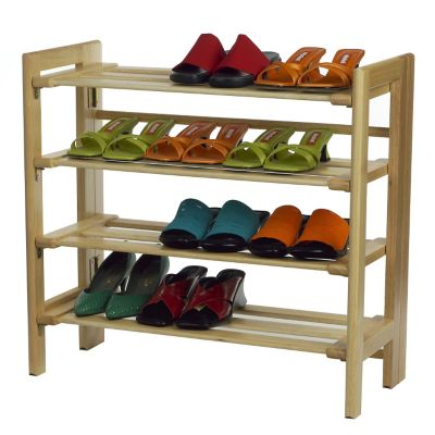 Natural 4-Tier Stackable Shoe Rack