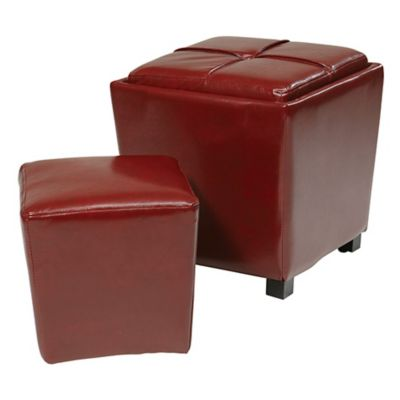 2 Piece Faux Leather Ottoman Set