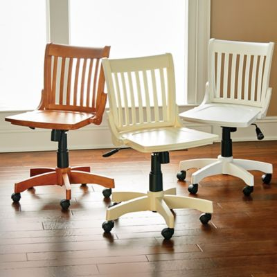 Deluxe Armless Wood Bankers Office Chair
