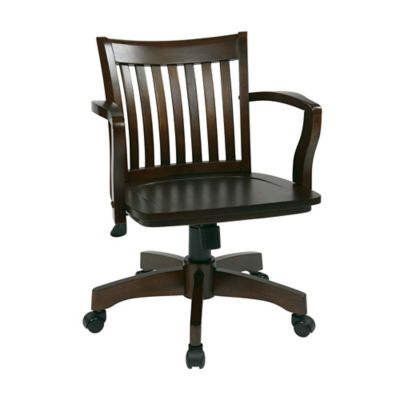 Deluxe Wood Bankers Office Chair with Arms