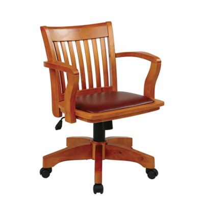 Deluxe Wood Bankers Office Chair with Arms &