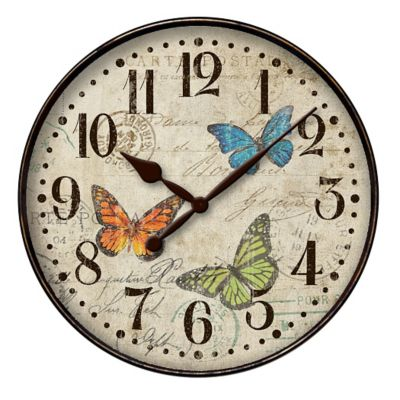 Westclox Butterfly & Map Wall Clock-12""