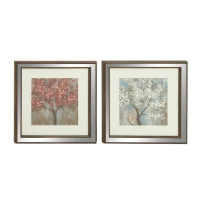 Flowering Trees Framed Wall Art-Set of 2