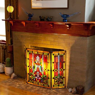 Stained Glass Fleur-de-Lis Fireplace Screen