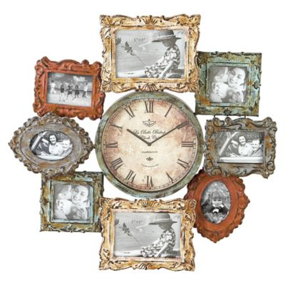 Metal Clock and Picture Frame Collage