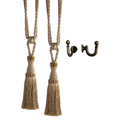 Chelsea Beaded Tiebacks with Ball Hooks-Set of 2