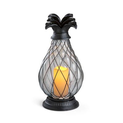 Battery Operated Glass Pineapple Hurricane Lamp
