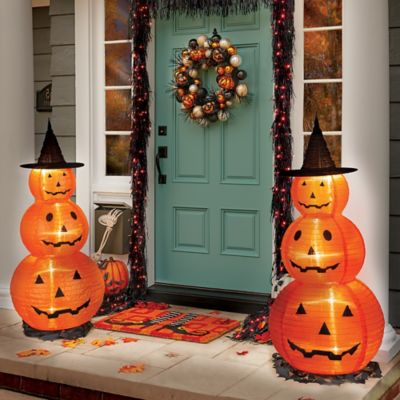 Lighted Pop-Up Pumpkin Stack Halloween Decoration
