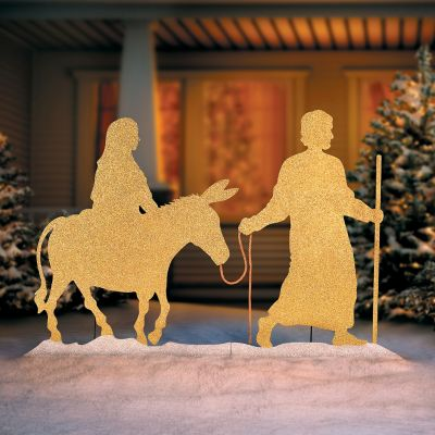 Mary and Joseph Silhouette Outdoor Christmas Decoration