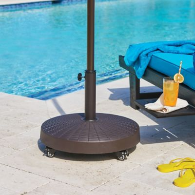 Wicker Look Patio Umbrella Base on Wheels