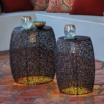 Vienna Solar Lighted Metal Nesting Tables-Set of 2
