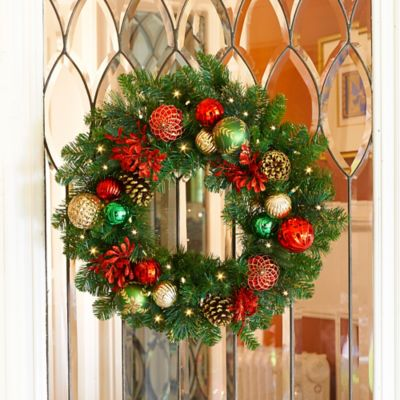"26"" Pre-Lit Merry & Bright Christmas Wreath"