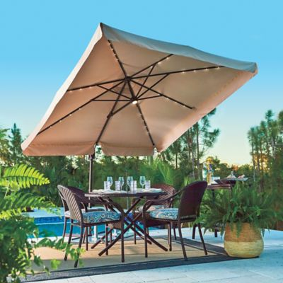 8-1/2' Square Offset Solar Lighted Umbrella
