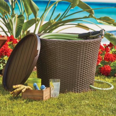 Resin Wicker Garden Hose Holder and Side Table