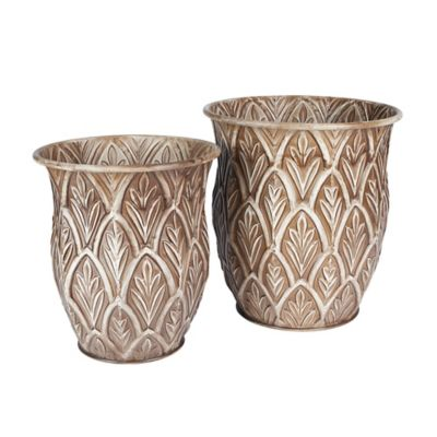 Etched Metal Floor Vases-Set of 2