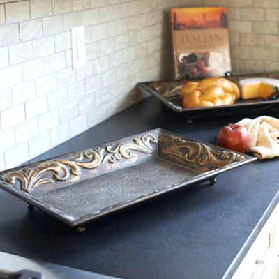 Embossed Metal Decorative Trays-Set of 2