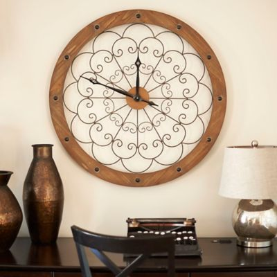 Scroll Wood and Metal Wall Clock