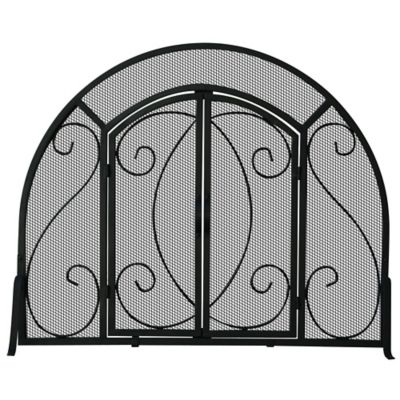 Wrought Iron Arch Top Fireplace Screen with Doors