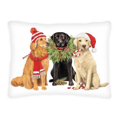 Festive Dogs Christmas Throw Pillow