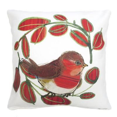 Bird and Wreath Christmas Throw Pillow