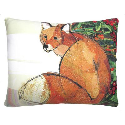 Festive Fox Christmas Throw Pillow