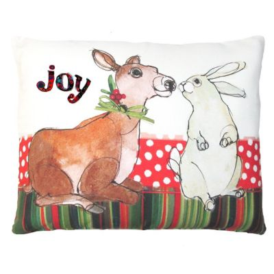Bunny and Deer Christmas Throw Pillow