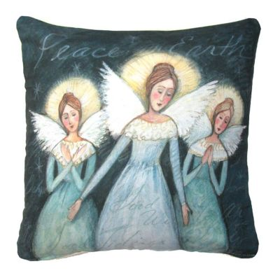 Angel Trio Christmas Throw Pillow