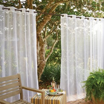 Grommet-Top Mesh Outdoor Curtain Panels with Insect Repellent