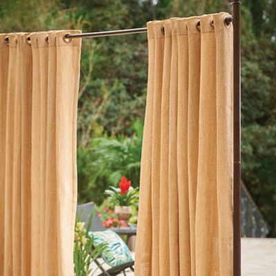 Raffia Grommet-Top Outdoor Curtain Panels