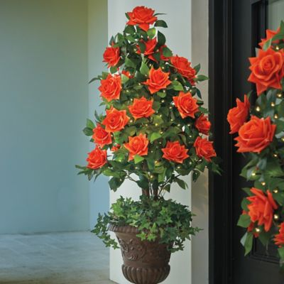 Lighted Rose Topiary Tree
