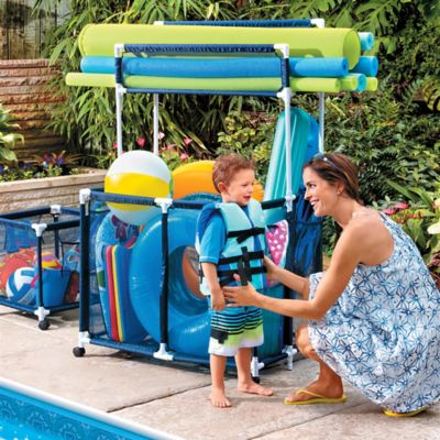 Pool Toy Storage Bin with Noodle Holder