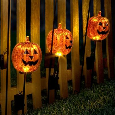 Lighted Pumpkin Yard Stakes Outdoor Halloween Decoration